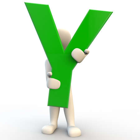 3D human character holding green letter Y, 3d render isolated on white Stock Photo