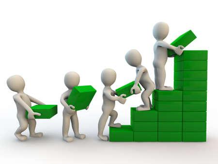 3d personnages humains font graphique de la croissance, isol? sur blanc Banque d'images - 21760978