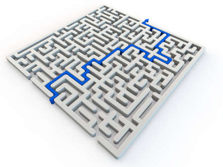 Solved maze with blue arrow, 3d render