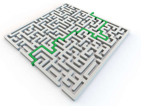 shortcut: Solved maze with green arrow, 3d render