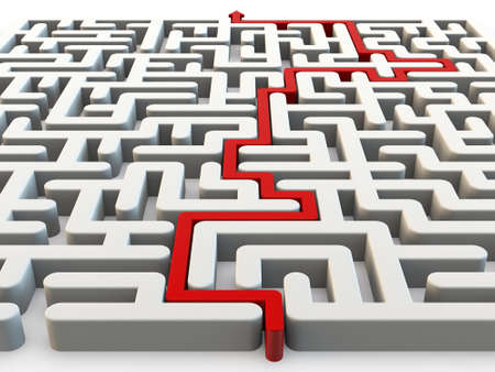 shortcut: Solved maze with red arrow, 3d render