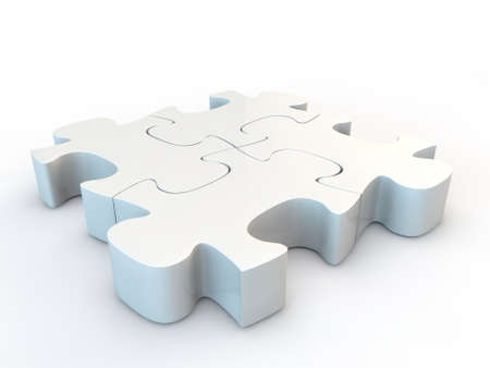 White jigsaw puzzle, 3d render isolated on white Stock Photo - 24058074