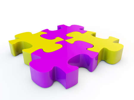 Colorfull jigsaw puzzle, 3d render isolated on white Stock Photo - 24058060