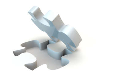 White jigsaw puzzle, 3d render isolated on white Stock Photo - 24058287