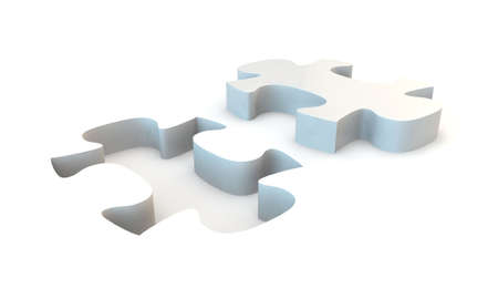 White jigsaw puzzle, 3d render isolated on white Stock Photo - 24058286