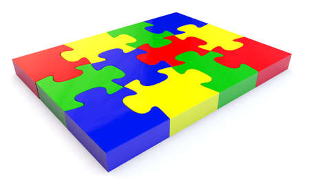 Colorfull jigsaw puzzle, 3d render isolated on white Stock Photo - 24062304