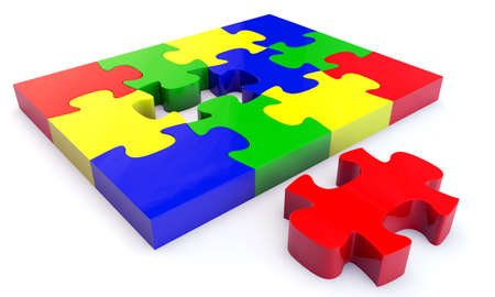 Colorfull jigsaw puzzle, 3d render isolated on white Stock Photo - 24062306