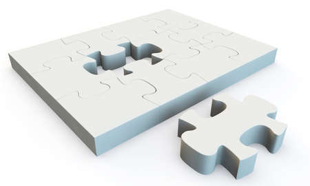 White jigsaw puzzle, 3d render isolated on white Stock Photo - 24062305