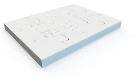 White jigsaw puzzle, 3d render isolated on white Stock Photo - 24062303