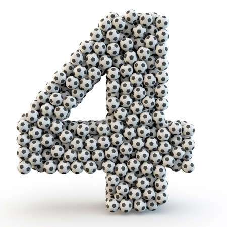 3D number four made from football balls photo