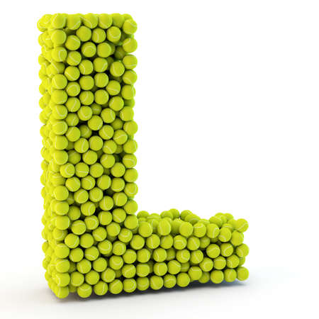3D letter L made from tennis balls