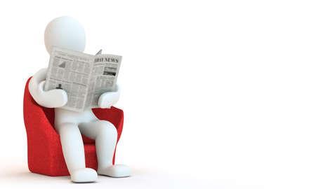 3D character reding newspaper, 3D render photo