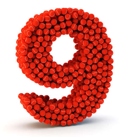 9 ball: 3D number nine made from tennis balls, 3D render