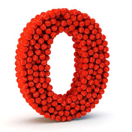 number zero: 3D number zero made from tennis balls, 3D render