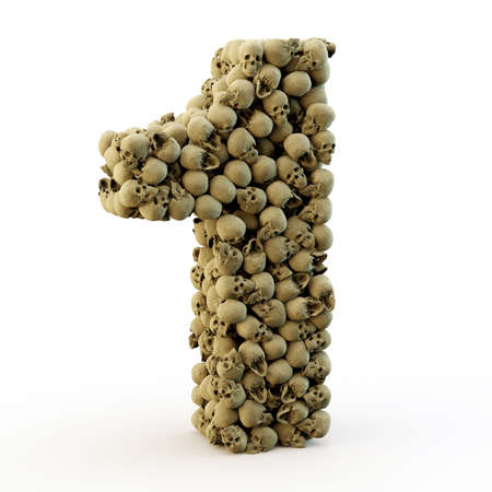 3d scary: 3D number one made from skulls, 3D render