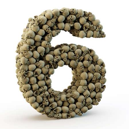 bone anatomy: 3D number six made from skulls, 3d render
