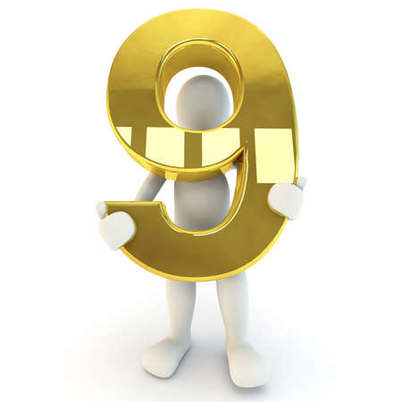 3D human: 3D Human character holding golden number nine, 3d render, isolated on white