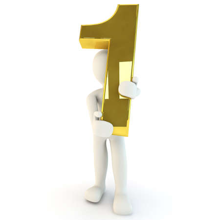 3d human: 3D Human character holding golden number one, 3d render, isolated on white