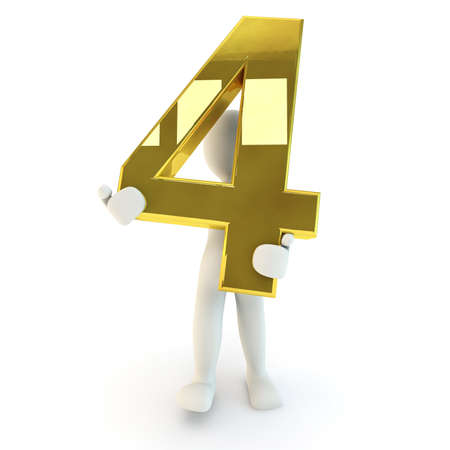 human character: 3D Human character holding golden number four, 3d render, isolated on white Archivio Fotografico