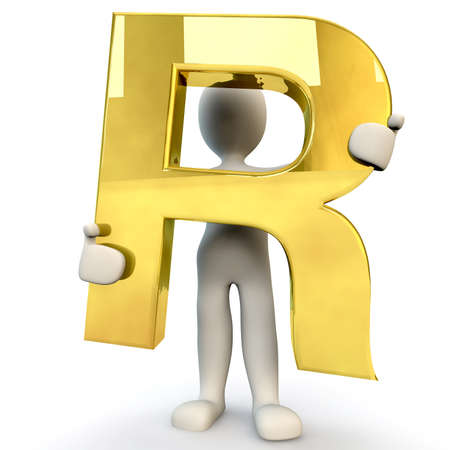 3D human: 3D Human character holding golden alphabet letter R, 3d render, isolated on white Stock Photo