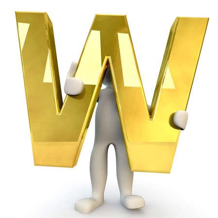 figura humana: 3D car�cter humano que sostiene la letra del alfabeto de oro W, 3d, aislado en blanco
