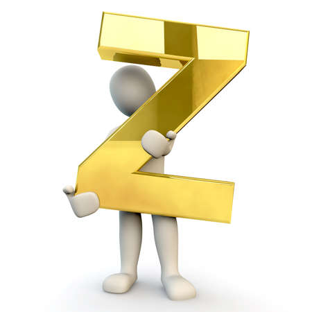 stick figure people: 3D Human character holding golden alphabet letter Z, 3d render, isolated on white Stock Photo