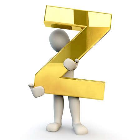 figura humana: 3D Humanos sostiene letra del alfabeto de oro Z, 3d, aislado en blanco Foto de archivo
