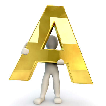 computer graphic: 3D Human character holding golden alphabet letter A, 3d render, isolated on white