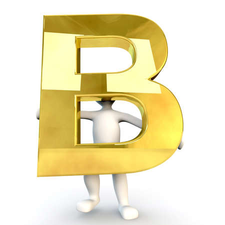 3D human: 3D Human character holding golden alphabet letter B, 3d render, isolated on white
