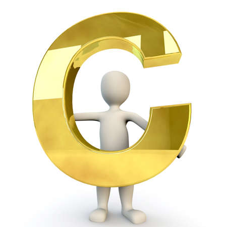 stick figure people: 3D Human character holding golden alphabet letter C, 3d render, isolated on white