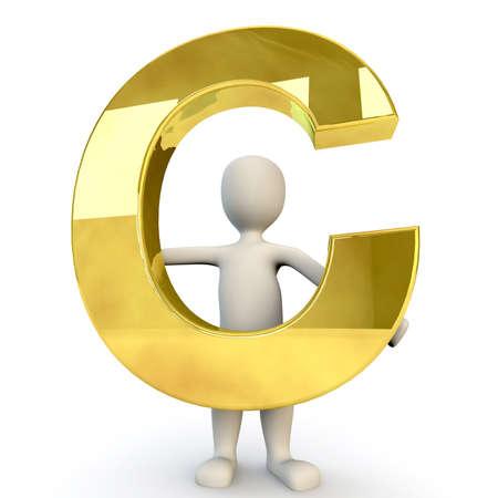 figura humana: 3D Humanos sostiene letra del alfabeto de oro C, 3d, aislado en blanco