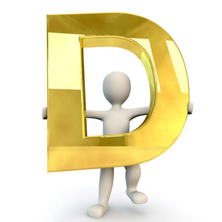 man of letters: 3D Human character holding golden alphabet letter D, 3d render, isolated on white