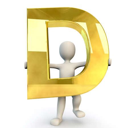 3D Human character holding golden alphabet letter D, 3d render, isolated on white