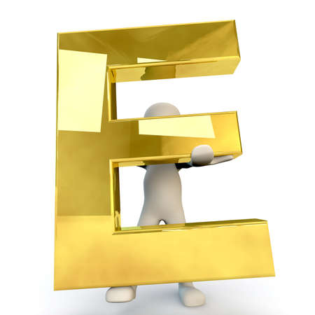3D human: 3D Human character holding golden alphabet letter E, 3d render, isolated on white