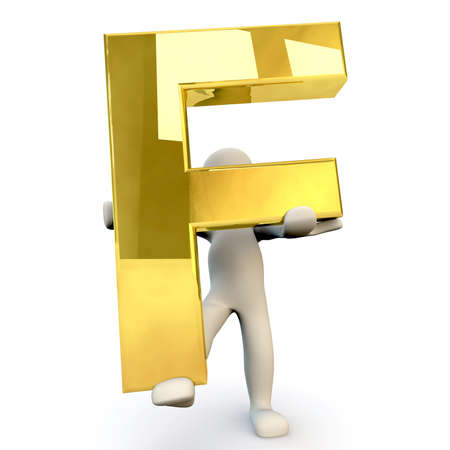 stick figure people: 3D Human character holding golden alphabet letter F, 3d render, isolated on white
