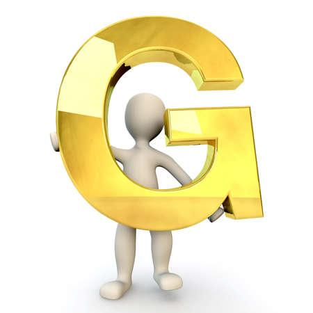 figura humana: 3D Humanos sostiene letra del alfabeto de oro G, 3d, aislado en blanco Foto de archivo