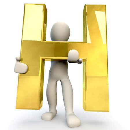 stick figure people: 3D Human character holding golden alphabet letter H, 3d render, isolated on white