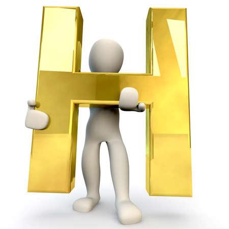 figura humana: 3D Humanos sostiene letra del alfabeto de oro H, 3d, aislado en blanco Foto de archivo