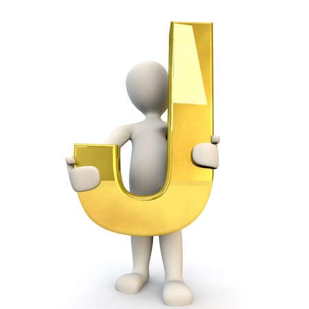 figura humana: 3D Humanos sostiene letra del alfabeto de oro J, 3d, aislado en blanco
