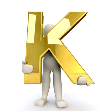 stick figure people: 3D Human character holding golden alphabet letter K, 3d render, isolated on white