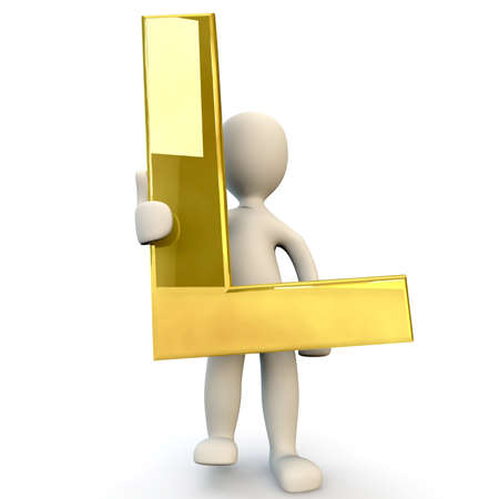 figura humana: 3D Humanos sostiene letra del alfabeto de oro L, 3d, aislado en blanco