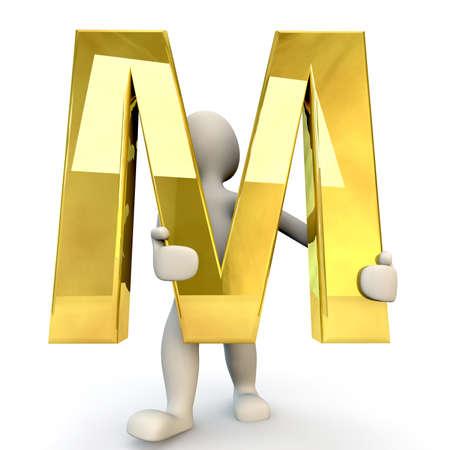 figura humana: 3D Humanos sostiene letra del alfabeto de oro M, 3d, aislado en blanco