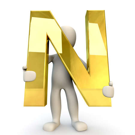 stick figure people: 3D Human character holding golden alphabet letter N, 3d render, isolated on white