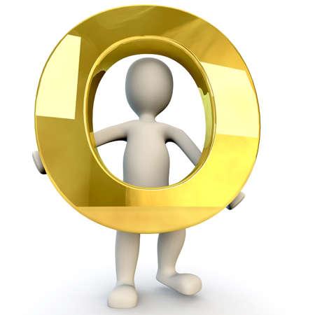 strichm�nnchen: 3D Human Charakter mit einer goldenen Alphabet Buchstaben O, 3D, render isoliert auf wei� Lizenzfreie Bilder