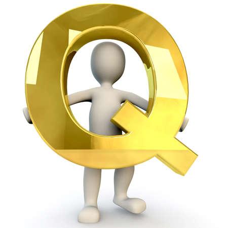 figura humana: 3D Humanos sostiene letra del alfabeto de oro Q, 3d, aislado en blanco