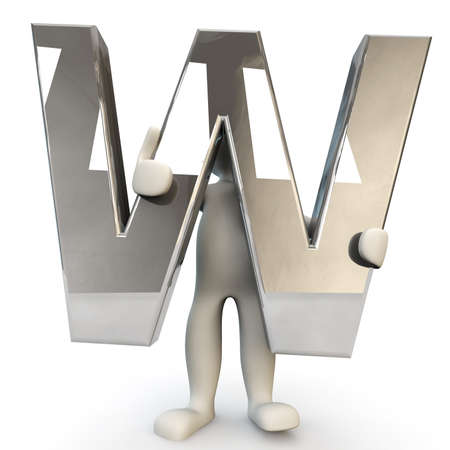 other keywords: 3D Human character holding silver alphabet letter W, 3D render, isolated on white