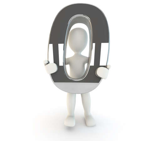other keywords: 3D Human character holding silver number zero, 3D render, isolated on white Stock Photo