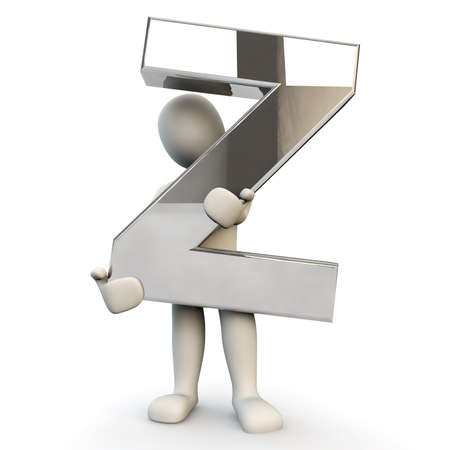 other keywords: 3D Human character holding silver alphabet letter Z, 3D render, isolated on white