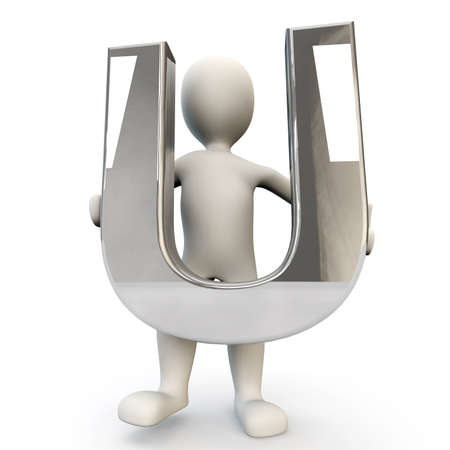 other keywords: 3D Human character holding silver alphabet letter U, 3d render, isolated on white