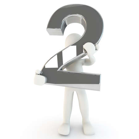 other keywords: 3D Human character holding silver number two, 3D render, isolated on white Stock Photo